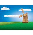Windmill on grass field vector image