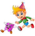 animal monkey cartoon birthday hat cap ribbo vector image