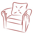 armchair drawing on white background vector image vector image