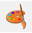 art palette with paint brush icon cartoon style vector image