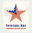 beautiful vintage poster for veterans day vector image