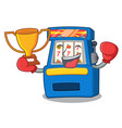 boxing winner slot machine attached to cartoon vector image vector image
