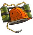 cartoon orange drinking beer helmet with bottles vector image