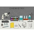 Chemistry banner with chemical equipment vector image vector image