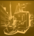 coffee theme sketch pictures vector image vector image