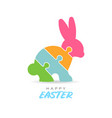colorful happy easter puzzle rabbit vector image