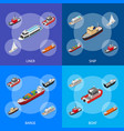 commercial sea ships signs 3d banner set isometric vector image vector image