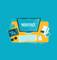 computer workspace concept vector image vector image