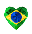 crystal gem jewelry Brazilian heart with the flag vector image vector image