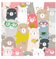cute baby colorful teddy bear seamless pattern vector image vector image