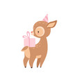 cute badeer with pink gift box adorable forest vector image vector image