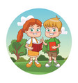 cute kids reading books vector image