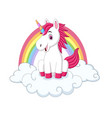 cute little pony unicorn sitting on clouds vector image vector image