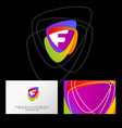 f logo multicolor shapes business card vector image