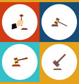 flat icon court set of law hammer court and vector image vector image