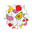 food concept of hand drawn fruit and vegetables vector image