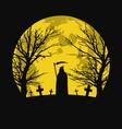 halloween background with graveyard vector image vector image
