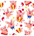 happy christmas pigs seamless pattern vector image
