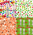 Happy Easter set of seamless pattern Rabbit eggs vector image vector image