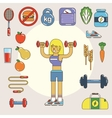 Healthy lifestyle flat icon set vector image vector image