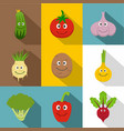 healthy vegetables icons set flat style vector image