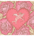 Heart with cupid and roses vector image vector image