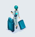 isometric young girl at the airport and waiting vector image vector image