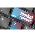 key with market research text on laptop keyboard vector image vector image