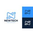 letter n tech logo design template n tech vector image vector image