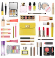 makeup cosmetics with yellow cosmetic bag vector image