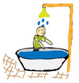 man taking a shower in the morning vector image vector image