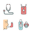 Medical devices color icons set
