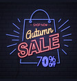 neon sign autumn big sale on brick background vector image