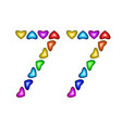 number 77 seventy seven colorful hearts on white vector image vector image