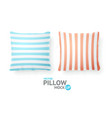 realistic detailed 3d striped pillows vector image