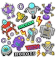 Robots and Machines Stickers Badges Patches vector image vector image