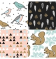set christmas seamless patterns cute festive vector image vector image