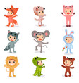 set of cartoon little kids characters in animal vector image