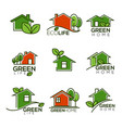 set of ecological homes green leaves and trees vector image