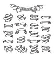 set - ribbons in handdrawn engraving style vector image vector image