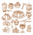 sketch icons of cake desserts and pastry vector image vector image