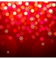 Snowflakes and bokeh lights on red background vector image