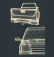 stylized drawings a pickup truck vector image