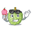 with ice cream character custard apple tropical vector image