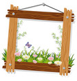 wooden frame template with flowers and grass vector image vector image