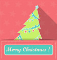 card with christmas tree in santa claus pocket vector image
