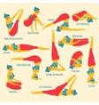 Set with beautiful woman exercising various vector image