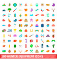 100 hunter equipment icons set cartoon style vector image vector image