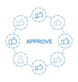 8 approve icons vector image vector image