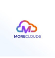 abstract letter m clouds technology logo sign vector image